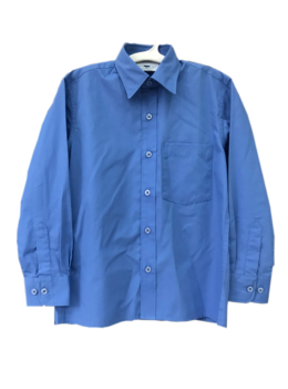SCHOOL BLUE LONG SLEEVE STAND UP COLLAR BOY SHIRT